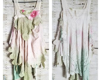 Pink Sunshine Shabby floral lace linen anthropologie peasant antique repurpose country ruffle Boho altered mori maxi Dress whimsy L XL