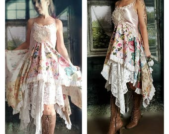 Pink Sunshine Shabby cowgirl rustic funk embellish spring art layered lace prairie gypsy floral ruffle rustic Boho maxi patchwork dress S M