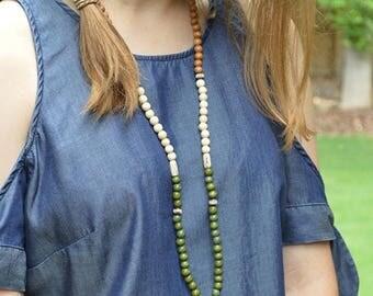 Sale Tassel Necklace, Bohemian Jewelry, Boho Necklace, Leather Tassel, Wood Bead Necklace, Long Beaded Necklace, Leather Tassel Necklace