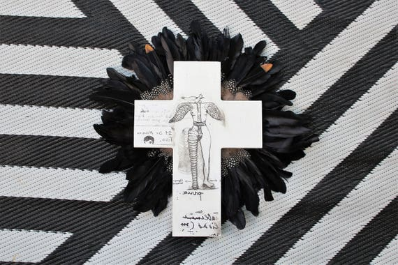 Crucifix 'Frida Figure' with feathers Wall Art, White black Boho Design,  Timber