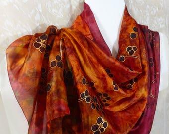 Luxury Silk scarf Hand painted Red Orange Burgundy Long scarf shawl Handpainted wedding wrap stole Painted silk Honeymoon gift scarf