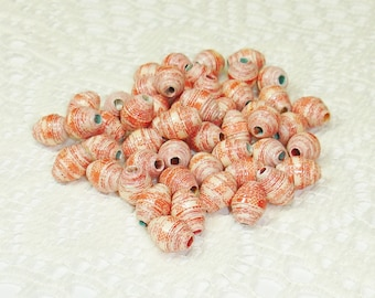 Paper Beads, Loose Handmade Craft Supplies Red White Picnic Gingham