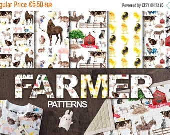 SUMMER SALE - 55% OFF Farm Animals Patterns, Watercolor Farm Digital Paper, Dog Cat Backgrounds, Cow, Chicken, Horse, Turkey, Pig, Lamb, Per