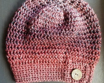 Adult Hat - Maroon and Navy - Crochet