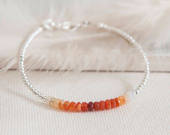 Fire Opal Bracelet, dainty Ombre Bracelet, October birthstone, Fire Opal jewellery, fire Opal bracelets