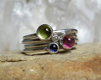 Sterling Silver Stack of Rings including Diamond, Sapphire, Peridot and Tourmaline