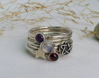 Sterling Silver Stacking Rings with Pentagram