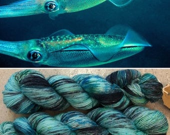 Bigfin Reef Squid Sparkle Sock, speckled merino nylon sock yarn with silver stellina