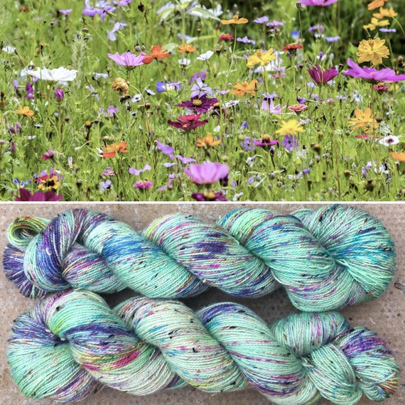 Summer Meadow Donegal Sock, speckled indie dyed merino sock yarn with neps