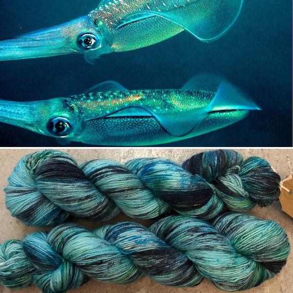 Bigfin Reef Squid Sparkle Sock, speckled merino nylon sock yarn with silver stellina