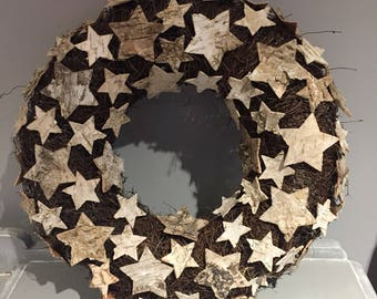 Christmas star Wreath, natural wreath, nordic wreath, modern wreath, door wreath
