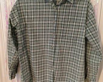 Faded green and white button up long sleeve check shirt M