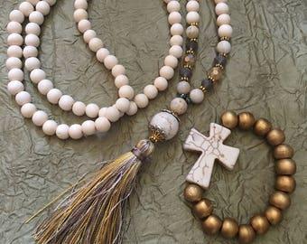 Beaded tassel necklace white wood beaded necklace neutral bohemian tassel necklace white stone beads long beaded yellow gray tassel necklace