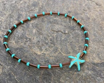 Starfish anklet starfish turquoise blue stone starfish brown beaded anklet gift for her stretch bracelet Czech glass ankle bracelet anklets