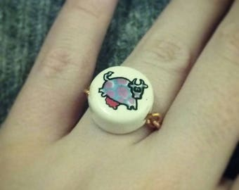 Copper ring ceramic cow spotted