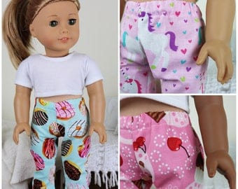 18 inch doll pajama pants | cupcake pj's | unicorn pants | donut pajamas