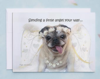 Get Well Soon Card Funny - Sending a Little Angel You're Way - Pugs and Kisses - 5x7