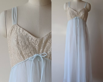 60's chiffon nightgown / Al Sterling designed pale blue and lace empire waist gown by Lisette size 34 small