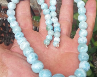 big one blue LARIMAR round beaded stones 925 Sterling silver NECKLACE (AAA-7)