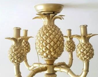 Gold Pineapple Light Fixture Chandelier