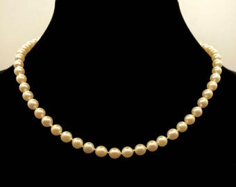 """Pearl Necklace With 14kt White Gold Clasp 18"""" long"""