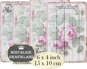 French Rose Writing Paper Ledger Ephemera Papers 6 x 4 inch Instant Download digital collage sheet D139