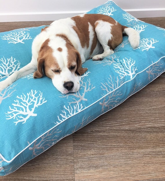 'Coastal Blue Sea Fan' Dog Bed with insert -  pet bed - SMALL, MEDIUM, LARGE