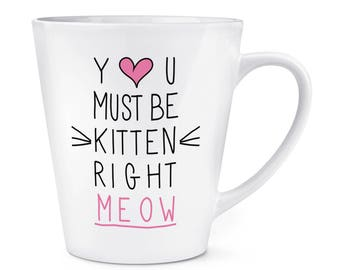 You Must Be Kitten Right Meow 12oz Latte Mug Cup