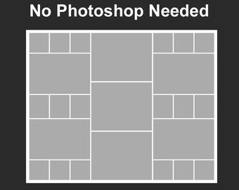"""Instant Download digital photo collage template,photo collage,30""""x24"""" collages,storyboard, best photos of the year,best moments of the year"""