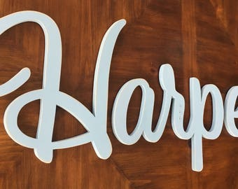 Nursery wood name, Nursery wall decor, Nursery wall letters, Connected letters, Cursive letters