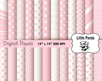 70% OFF SALE Pastel Pink Digital Scrapbook Paper Pack 24 jpg files 12 x 12  - Instant Download - D252