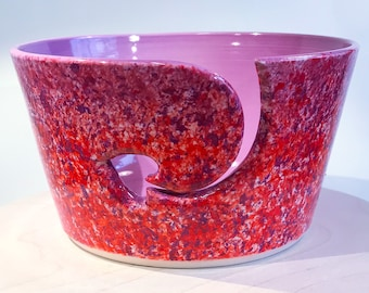 Purple and red heart yarn bowl.