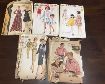 Ephemera Vintage Sewing Patterns Lot Butterick Simplicity McCall's Kids Women's Men's