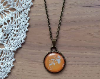 Orange and White Floral Vine - Cabochon Necklace - Round Rope Pendant Necklace - Antique Brass Bezel and Chain