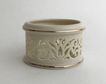 LENOX Tea Light, Lenox Votive Holder, Lenox China, Lenox Gift Piece , Pierced Ivory China, Pierced Ivory Lenox, Pierced China Gift,