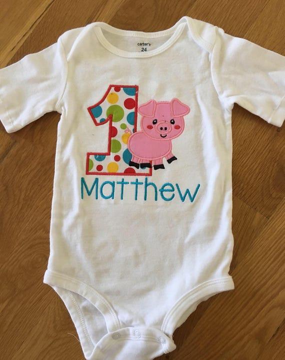 Farm theme birthday shirt, pig farm animal theme 1 2 3 4 5 birthday shirt, red yellow blue pig onesie shirt, custom name embroidery birthday