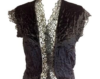 Black velvet and lace jerkin