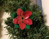 Chainmaille wreath and poinsettia ornaments