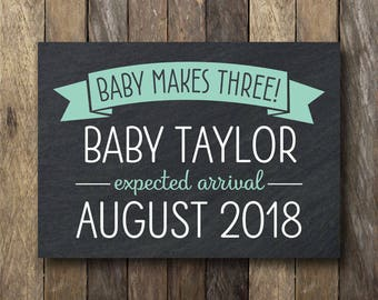 Pregnancy Announcement Printable - Baby Makes Three!