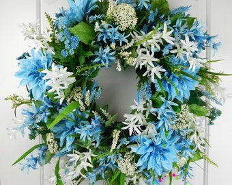 Blue and White Wreath, Blue Floral Wreath, Summer Wreath, Spring Grapevine Wreath, Front Door Wreath, Farmhouse Wreath, Silk Wreaths