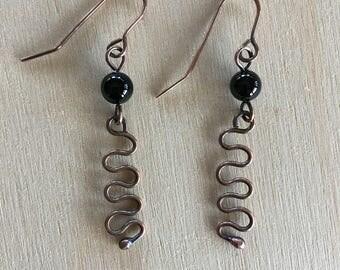 Women's Earrings - black Onyx - long dangle - Handmade - beaded - copper Jewelry