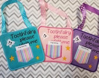 Tooth Fairy,  Tooth fairy pillow alternative, tooth fairy please stop here, custom name tooth fairy door hanger