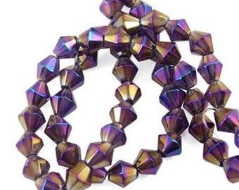 56 beads purple iridescent glass 6mm wire