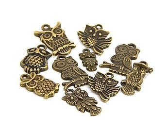 10 charms mixed bronze metal owls
