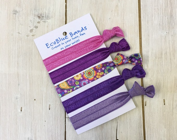 5 hair elastics, soft stretch hair ties, ponies, yoga hair ties, bracelets, ponytail holders - Lavender mix