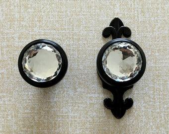 Crystal Knobs Glass Knob Dresser Knobs Drawer Knobs Pulls Handles  Rhinestone Cabinet Door Knob Back Plate