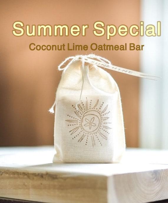 SUMMER SPECIAL Coconut Lime Oatmeal Bath Bar in Flower Stamped Muslin Drawstring Bag | 5 oz | Fun SUNSHINE Tag | Refreshing!