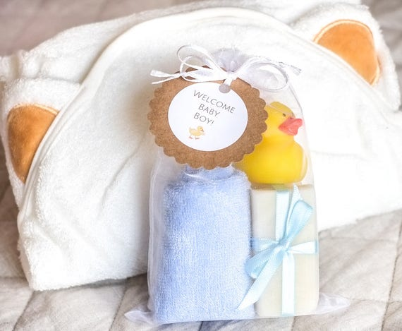 Full Baby BOY Bath Set  | Three 1 oz Lavender Bars, Organic Bamboo Hooded Bath Blanket, Super Soft Blue Bamboo Washcloth and Rubber Ducky