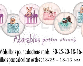 Images digitals cabochons jewelry small dogs