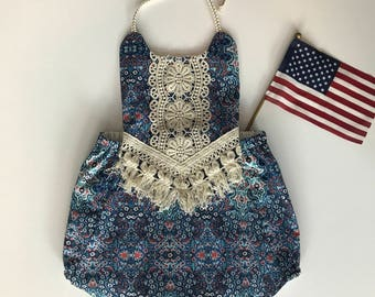 3-6m Boho Baby Romper Play Suit, red, white, and blue kaleidoscope and macrame trim